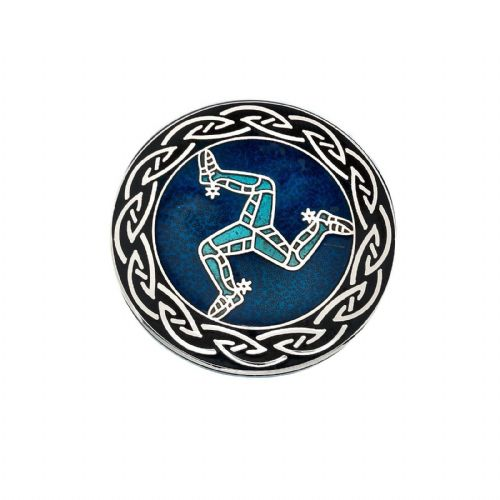 Isle of Man Legs Brooch Silver Plated Blue Manx Brand New Gift Packaging